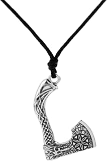 Gothic New Viking Axe Wolf Head Fenrir Slavic Symbol Pendant Spiritual Animal Necklace Men Gifts Jewelry