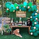 Heboland Safari Dschunge Motto Ballon Girlande Ballonbogen Kit 100 Stück Grün und Gold Ballons5m Lange Ballongirlande für Kinder Jungen Baby Geburtstag Party Deko