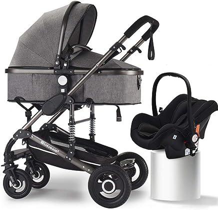 papay Passeggino Pieghevole Multifunzionale può Sedersi Ammortizzatore A Due Vie,Blacktubecoolgray+safetybasket