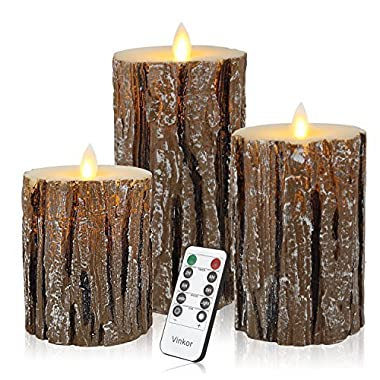 Vinkor Flameless Candles Flickering Candles Decorative Battery Flameless Candle Classic Real Wax Pillar With Dancing LED Flame & 10-key Remote Control 2/4/6/ 8 Hours Timers (Birch Effect)