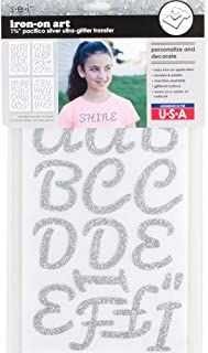 Sei 1.75 Inch Pacifico Glitter Letter Iron on Transfer, Silver, 4-Sheet