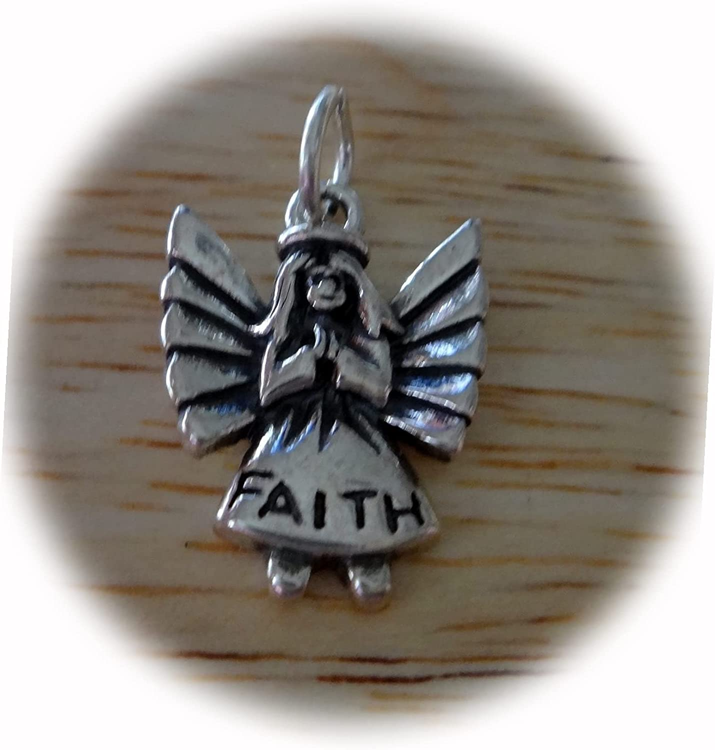 New Sterling Low price Silver 17x13mm Small Angel says Char Detailed Faith Ranking TOP12