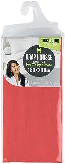 douceur d'intérieur 1641648 LINA Drap Housse Coton Corail 180 x 200 cm