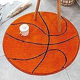 Kids Rug Basketball Round Rug Carpet Floor Chair Mat for Kids Rooms Children's Bedroom ( Basketball , 2.6 ft )