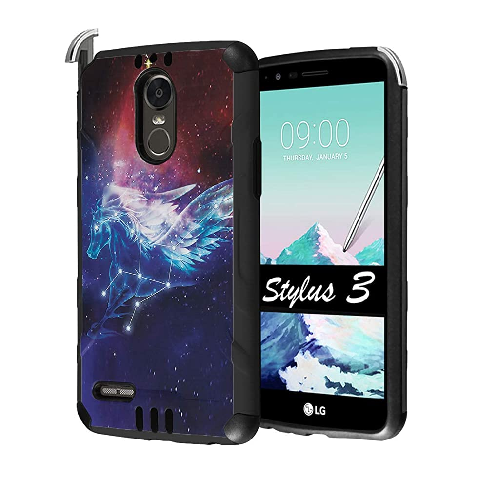 Capsule Case Compatible with LG Stylo 3, LG Stylo 3 Plus [Hybrid Dual Layer Supports Qi Wireless Charging Slim Defender Armor Combat Case Black] for LG Stylus 3 - (Space Horse)