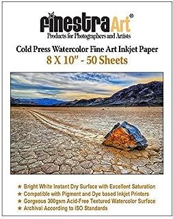 8X10 Cold Press Watercolor Fine Art Inkjet Paper 300gsm 50 Sheets