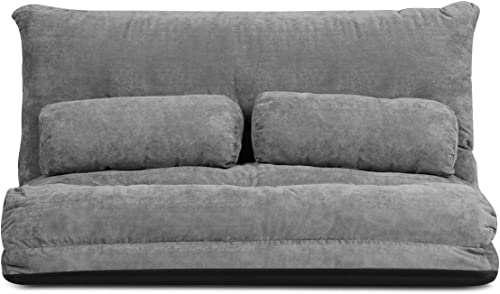 lowest Giantex Adjustable Floor Sofa Couch with 2 Pillows, Multi-Functional 6-Position outlet online sale Foldable Lazy Sofa Sleeper Bed, Multi-Functional Suede Floor Seating Sofa outlet sale for Reading Gaming (Gray) online