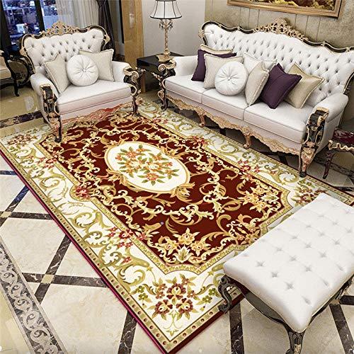 La Alfombra Decoracion de Salones Fácil de Limpiar Amarillo Rojo Blanco diseño Floral Alfombra Antideslizante Decoracion despacho Decoracion Pasillo 160X230CM