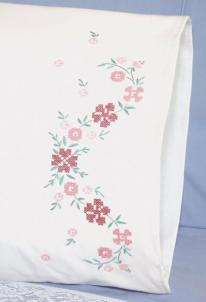 Fairway Needlecraft 83289 83216 Cross Stitch Perle Edge Pillowcases, Small Floral Design, Standard, White