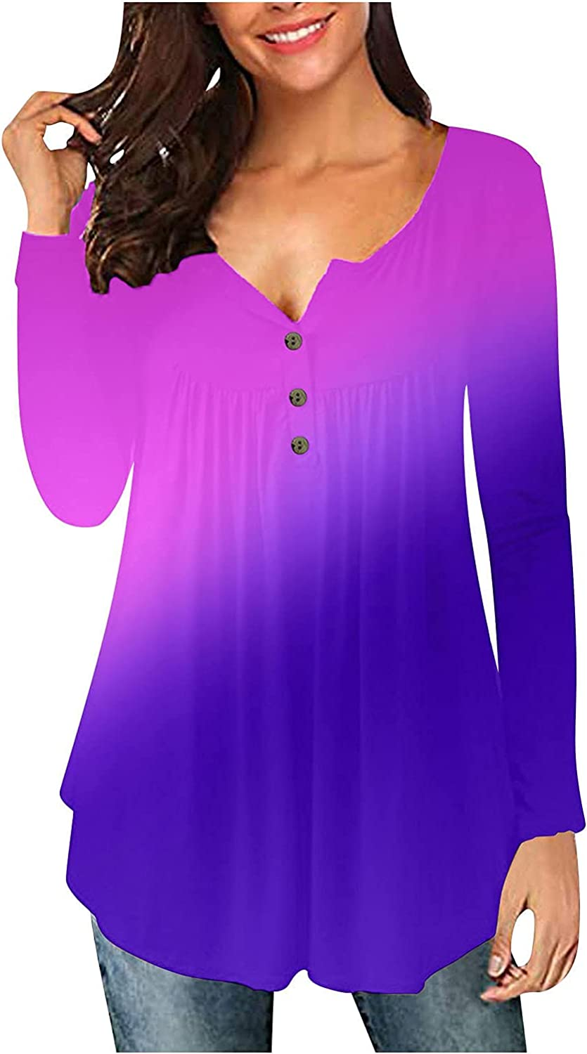 Chicago Mall 5665 Women Gradient Long Sleeve Shirt Direct store Casual Tuni Neck Buttons V