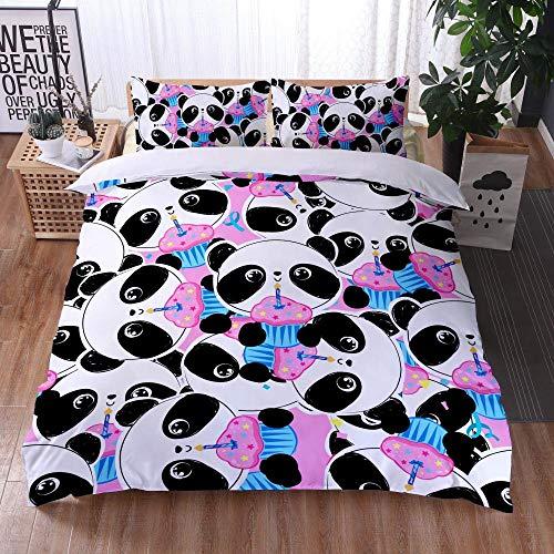 Bedclothes-Blanket Juego de sabanas Cama 150,Caso 3D Impresión Digital Ropa de Cama de Tres Piezas Panda Linda-2_173x218cm