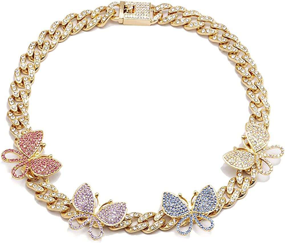 Apzzic 8mm Iced Out Chain Butterfly Cuban Link Choker Necklace Cubic Zirconia Bling Diamond Shiny Crystal Choker Necklace for Girls Women