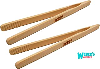 Set Of 2 Reusable Bamboo Toast Tongs - Wooden Toaster Tongs For Cooking & Holding - 8 Inch Long - Ideal Kitchen Utensil For Cheese Bacon Muffin Fruits Bread - Ultra Grip - Eco-friendly