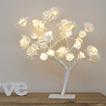 Tree Light Rose Flower Table Lamp Home Decoration Lights with 24 LEDs 15.4ft Rose Flower Tree Lights for Home/Christmas/Party/Wedding/Valentine's Day (Warm White)