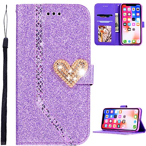 WANYINGLIN Leder Card Slot für Huawei P30 Lite,Colorful Bling Love Diamond Sparkle Women & Girl Glitter Leather Purse Flip Kickstand Stand Function Magnet Closure Hülle with Folio Wallet
