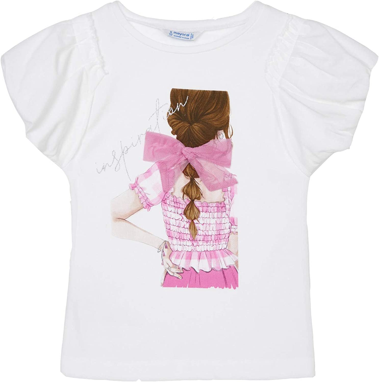 Mayoral - s/s t-Shirt Girls on Back for Girls - 6002, Camellia