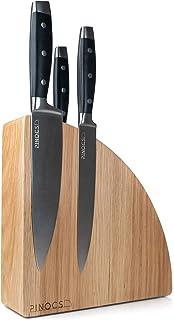Pinocs Messerblock Magnetisch, aus natürlichem Eichenholz, Doppelseitiger Messerhalter, Extra Starke Magnete 10 Messer Anti-Rutsch-Technik, Hygienisch, Schlankes Design, Messerblock ohne Messer