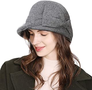 Women Winter Wool Bucket Hat 1920s Vintage Cloche Bowler Hat with Bow/Flower Accent