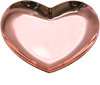 Timoo Stainless Steel Heart-Shaped Jewelry Tray, Trinket Dish for Organizing Ring, Earrings, Jewelry, Charms, Pendants (Rose Gold, 3.5'' x 3.3'')