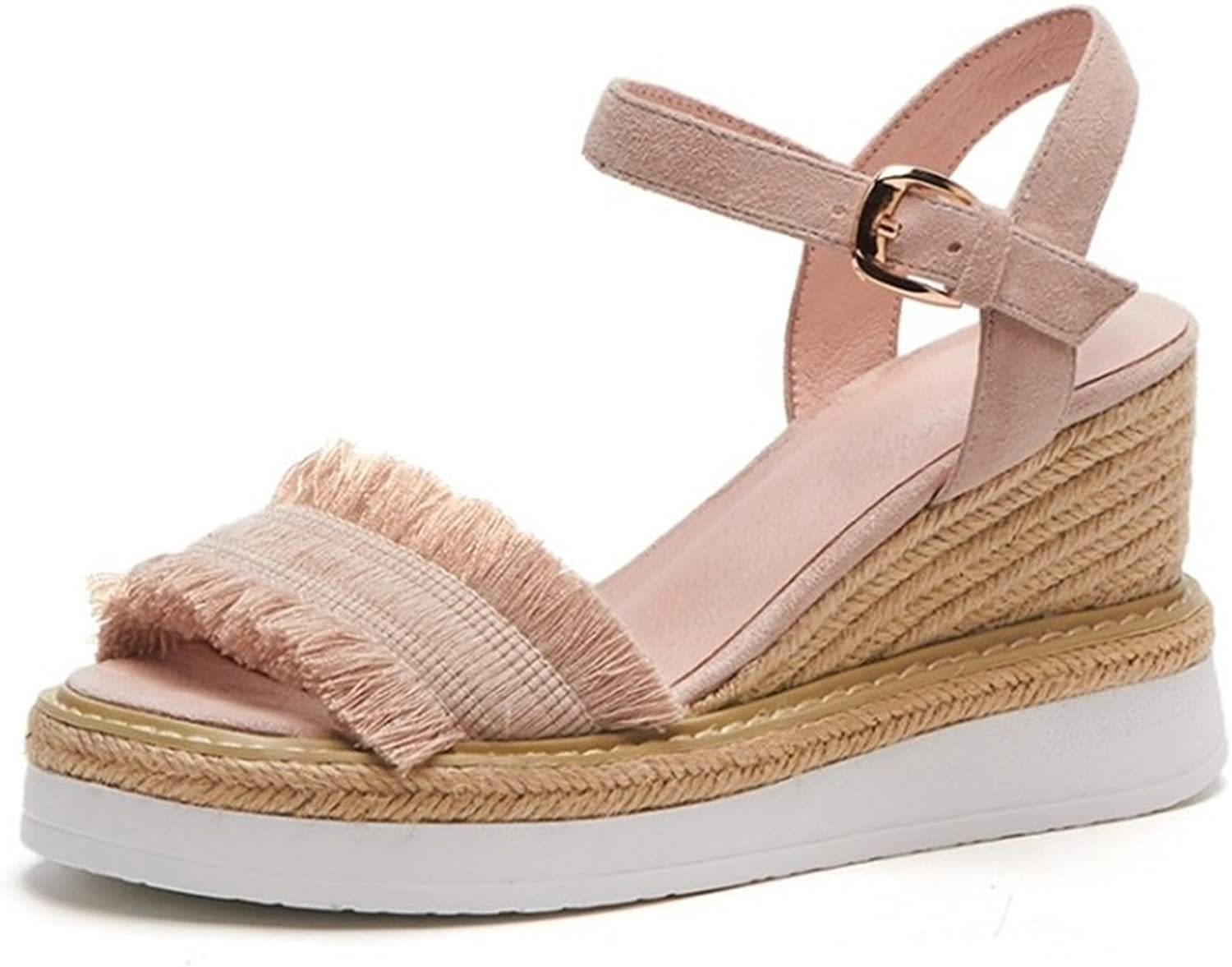 Jiang Women's shoes PU Summer Fall Sandals Flat Heel Round Toe Buckle for Office & Career Outdoor Green Pink Apricot Sandals