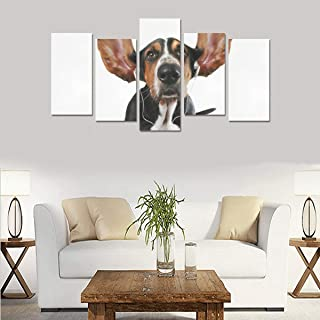 VvxXvx Happy Animal Dog Enjoy Music (no Frame) Canvas Print Sets Wall Art Picture 5 Pieces Paintings Posters Prints Photo Image On Canvas Ready to Hang for Living Room Bedroom Home Office Wall Decor