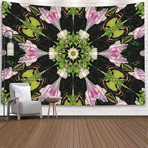 Tapiz decorativo, estilo popular Color abstracto Imagen de seis patrones Adorno de seis rosas Colores naturales Blanco Rosas rosa pálido Tapiz de dormitorio modificado Tapiz de sala de estar Decoració