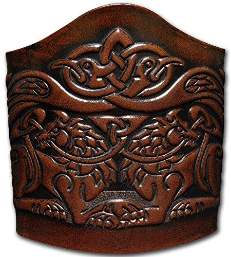 Hoppe & Masztalerz Lederarmband geprägt 90MM aus Vollrindleder keltische Wölfe mit Vögel mit Vögel (8) braun-antik zum binden (16,5 Zentimeter)