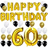 KUNGYO Happy Birthday Lettere Alfabeto Balloon+Numero 60 Mylar Foil Palloncini+24 Pezzi Oro Bianco Nero Lattice Balloons- Perfetto per Decorazioni di Festa di Compleanno di 60 Anni