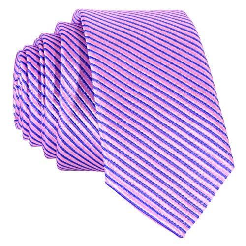DonDon Cravate à rayures bleu et rose 5 cm fini à la main//plusieurs couleurs disponibles