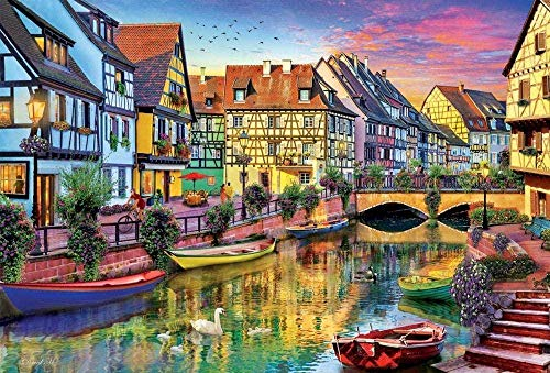 guyuell Puzzle 1000 Teile Colmar-Kanal In Frankreich- Klassische Puzzle, 1000 Teile, In Edler Motiv-Schachtel,Fotopuzzle-Kollektion