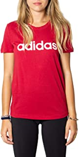 adidas Women's Essentials Linear Slim T-Shirt, Red (Active Maroon/white), Large, 16-18