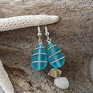 Handmade in Hawaii,wire wrapped blue sea glass earrings, (Hawaii Gift Wrapped, Customizable Gift Message)