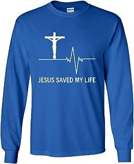 Jesus Saved My Life Long Sleeve T-Shirt Christian Religion Faith God