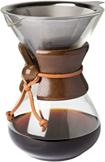 Comfify Pour Over Coffee Maker with Borosilicate Glass Carafe and Reusable Stainless Steel Permanent Filter Manual Coffee Dripper Brewer with Real Dark Brown Wood Sleeve - 30 oz. - Free Ebook
