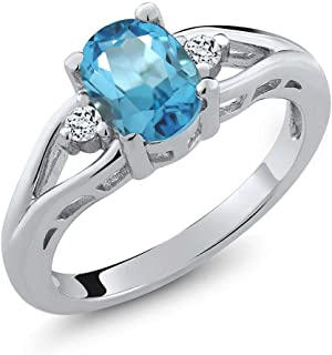 Sterling Silver Swiss Blue Topaz & White Topaz Women's 3-Stone Ring 1.80 cttw, Center: 8x6mm Oval (Available 5,6,7,8,9)