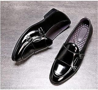 DADIJIER Conducción Mocasín Hombres Zapatos for Caminar resbalón en Piel de Microfibra Dedo del pie Acentuado Monk Correa ...