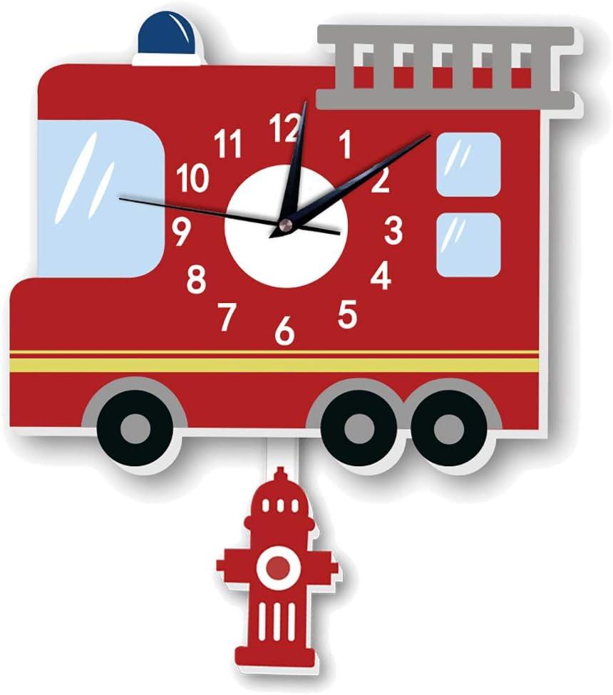 ChezMax 3D Cartoon Wall Clock Child Silent Hanging Clock with Pe