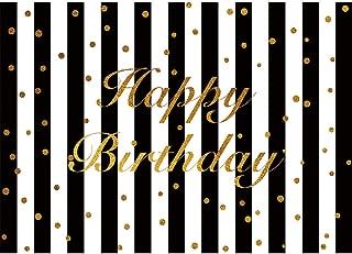 Allenjoy 7x5ft White Black Stripe Happy Birthday Party Decoration Photography Backdrop Studio Props Glitter Gold Golden Custumized Background Photo Booth