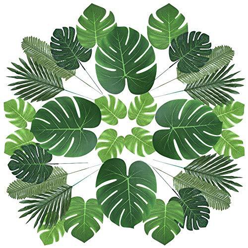 FairOnly 60 Teile / Satz Künstliche Palmblatt Tropische Pflanze für Jungle Beach Theme Party und Dekoration