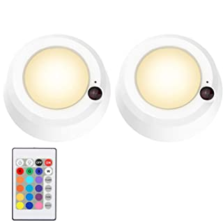 LUXSWAY LED Button Lights Remote Control Battery Powered Tap LED Light 16 Color Changing 4 Modes Stick up to Wall Night Li...