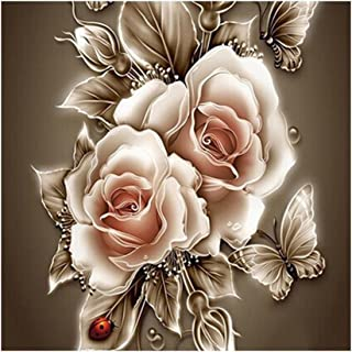 DIY 5D Diamond Painting,by Number Kits Crafts & Sewing Cross Stitch,Wall Stickers for Living Room Decoration,Beautiful Flowers(30X40CM/12X16inch)