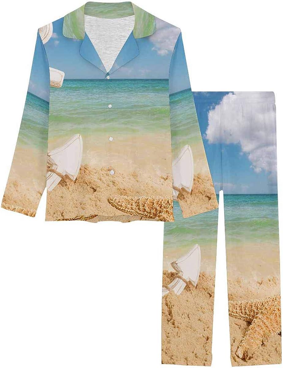 InterestPrint Notch Collar Soft Sleepwear Pj Set for Women Anchor with Starfish