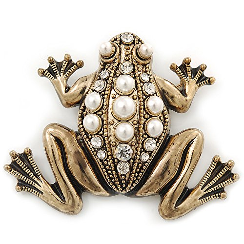 Avalaya Vintage Inspired Glass Pearl, Crystal Frog Brooch in Antique Gold Tone - 65mm Width