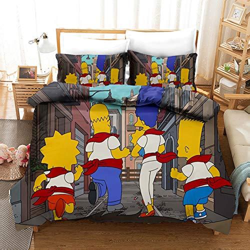 Bate - Juego de ropa de cama para adultos de The Simpsons Boys Girls, diseño 3D impreso, 100% microfibra (A,220 x 240 cm)