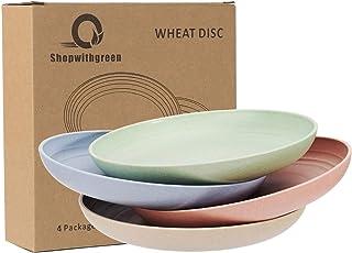 Sponsored Ad - Shopwithgreen Lightweight Wheat Straw Plates - 4 Pack 7.8'' Unbreakable Dinner Plates, Dishwasher & Microwa...