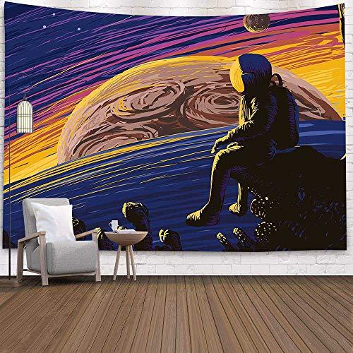 WERT Psicodélico Astronauta Planeta Colgante de Pared decoración de Galaxia Mapa Espacial decoración Tapiz A14 150x130 cm