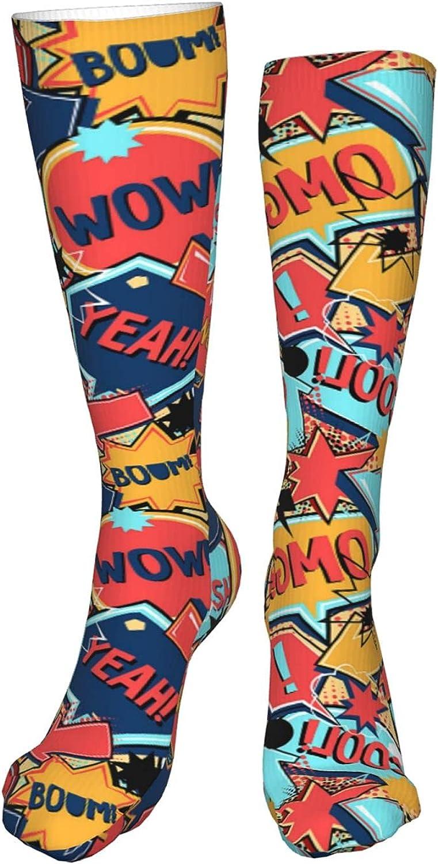 Funky Long Socks Over Calf, Crazy Socks No Slip and Skin-friendly, Unisex Wacky Colorful Socks