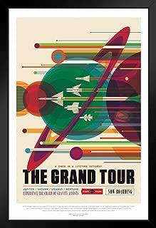 The Grand Tour NASA Space Retro Travel Vintage JPL Planets Exploration Science Fiction SciFi Tourism Astronaut Geeky Nerdy Black Wood Framed Art Poster 14x20