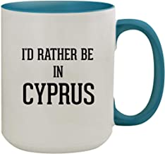 I'd Rather Be In CYPRUS - 15oz Colored Inner & Handle Ceramic Coffee Mug, Light Blue