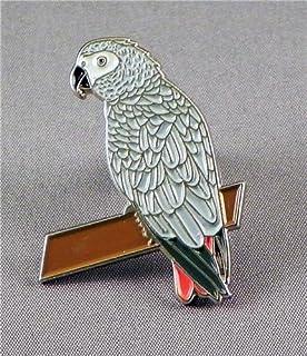 Spilla in metallo smaltato a forma di uccello - Pappagallo grigio